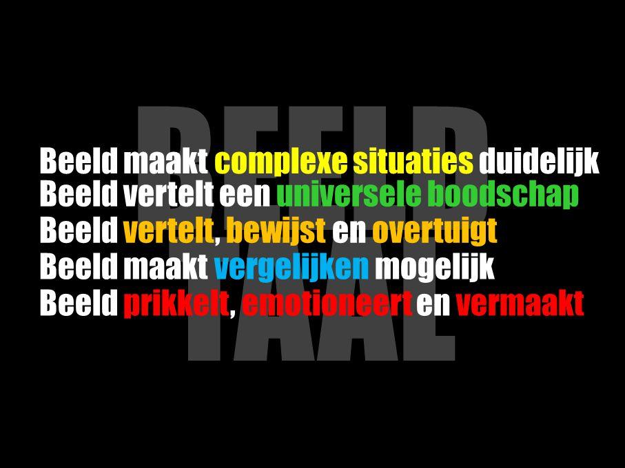 BEELD TAAL Beeld maakt vergelijken mogelijk Beeld maakt complexe situaties duidelijk Beeld vertelt een universele boodschap Beeld vertelt, bewijst en