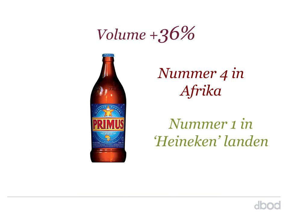 Nummer 4 in Afrika Volume + 36% Nummer 1 in 'Heineken' landen
