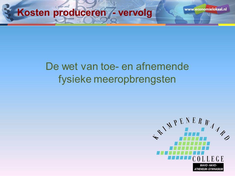 www.economielokaal.nl De wet van toe- en afnemende fysieke meeropbrengsten Kosten produceren - vervolg