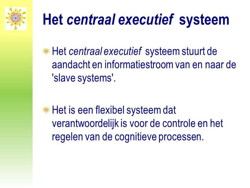 Het centraal executief systeem Het centraal executief systeem stuurt de aandacht en informatiestroom van en naar de 'slave systems'. Het is een flexib