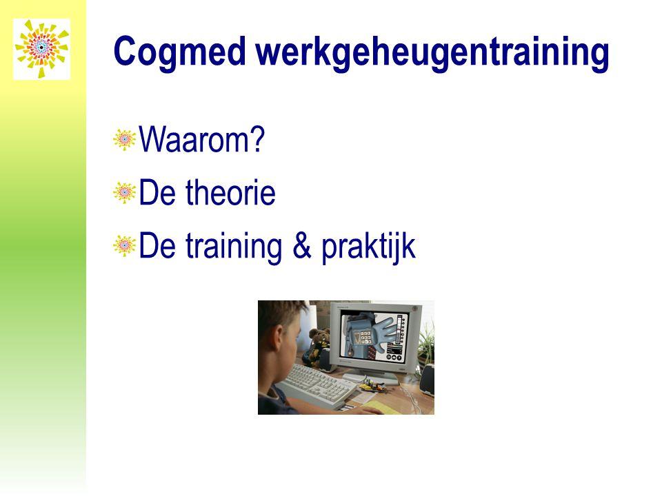 Cogmed werkgeheugentraining Waarom? De theorie De training & praktijk