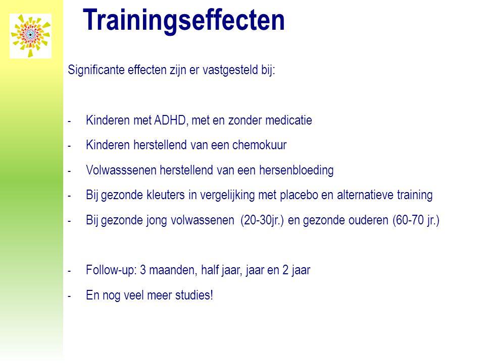Trainingseffecten Significante effecten zijn er vastgesteld bij: - Kinderen met ADHD, met en zonder medicatie - Kinderen herstellend van een chemokuur