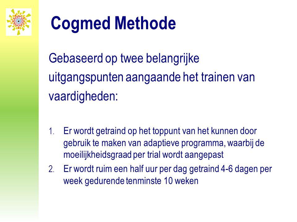 Cogmed Methode Gebaseerd op twee belangrijke uitgangspunten aangaande het trainen van vaardigheden: 1. Er wordt getraind op het toppunt van het kunnen