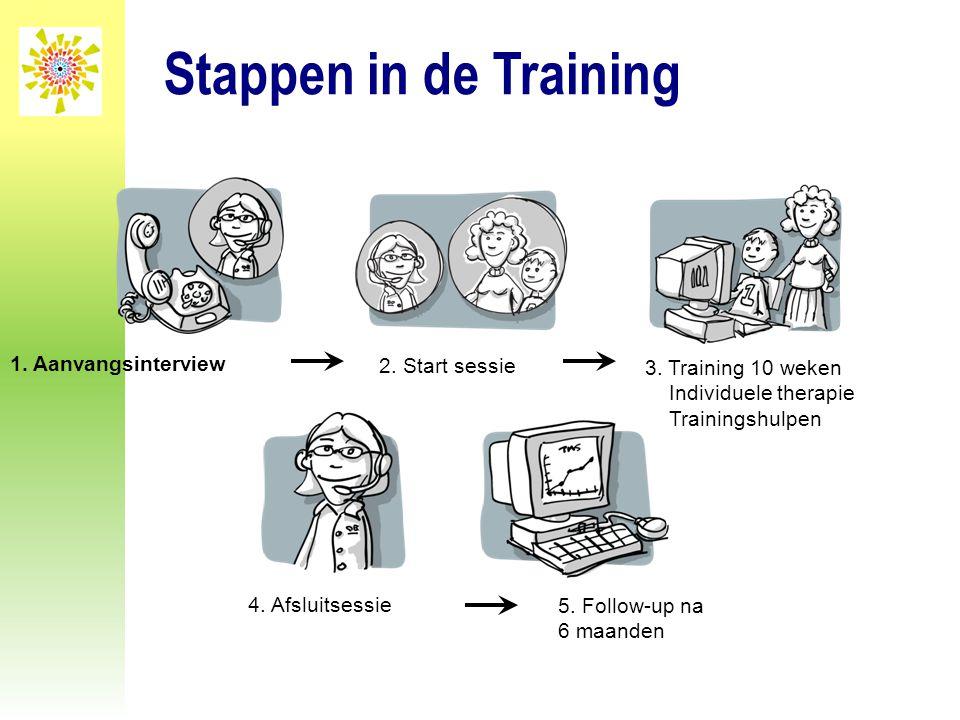 Stappen in de Training 2. Start sessie 1. Aanvangsinterview 3. Training 10 weken Individuele therapie Trainingshulpen 4. Afsluitsessie 5. Follow-up na