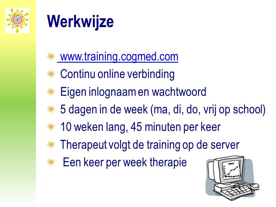 Werkwijze www.training.cogmed.com Continu online verbinding Eigen inlognaam en wachtwoord 5 dagen in de week (ma, di, do, vrij op school) 10 weken lan