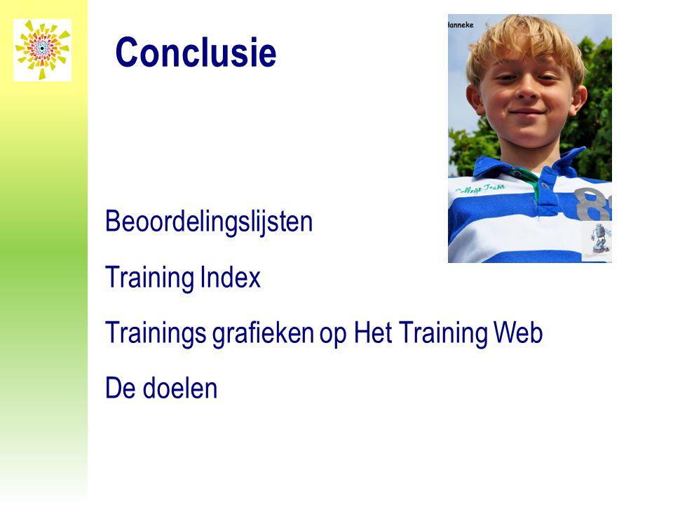 Conclusie Beoordelingslijsten Training Index Trainings grafieken op Het Training Web De doelen