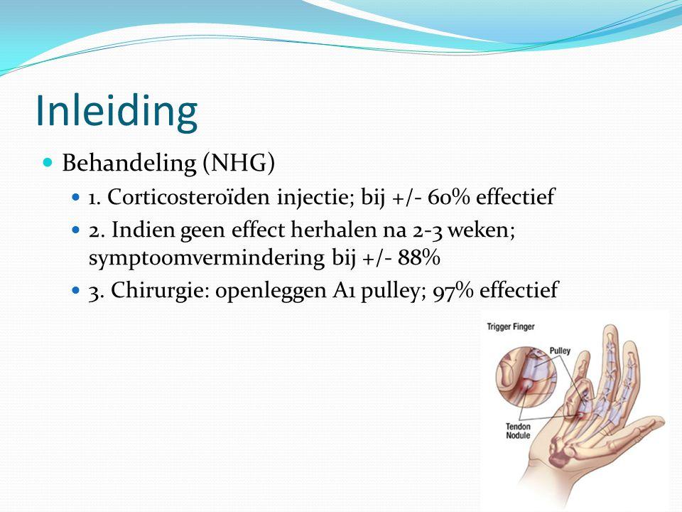 Inleiding Behandeling (NHG) 1. Corticosteroïden injectie; bij +/- 60% effectief 2. Indien geen effect herhalen na 2-3 weken; symptoomvermindering bij