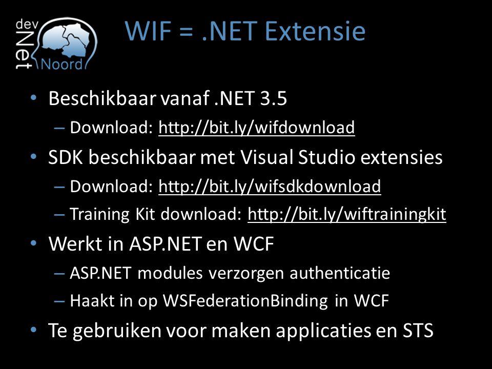 WIF =.NET Extensie Beschikbaar vanaf.NET 3.5 – Download: http://bit.ly/wifdownload SDK beschikbaar met Visual Studio extensies – Download: http://bit.