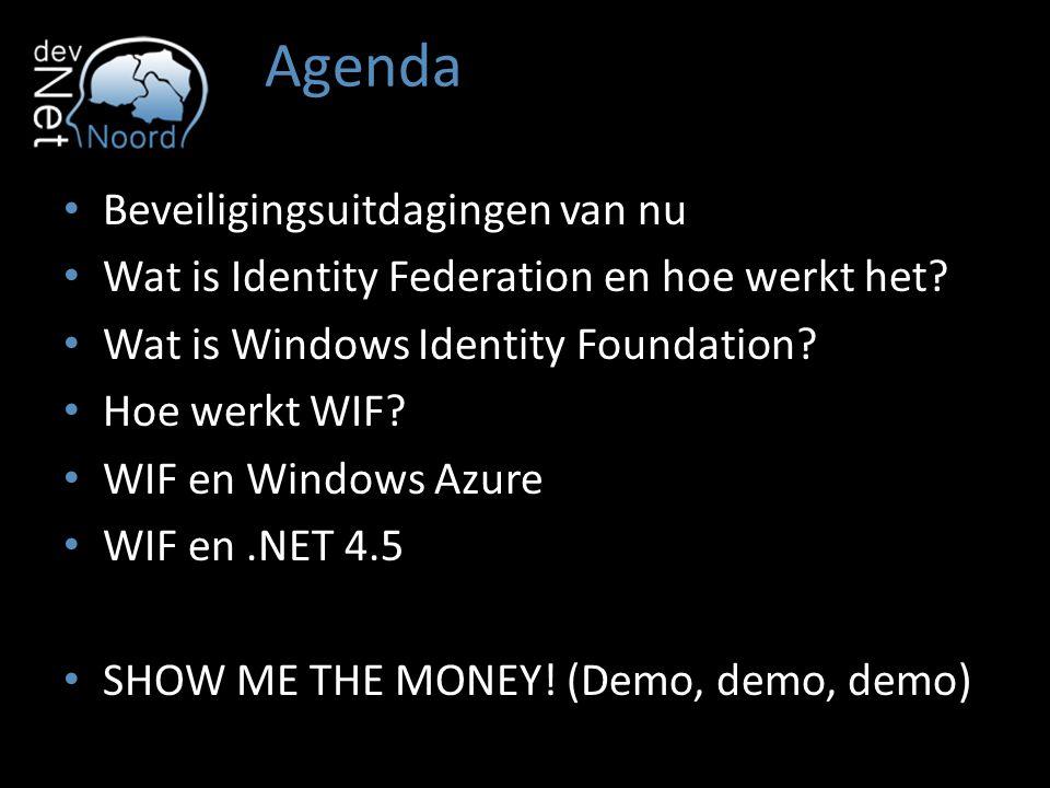 Agenda Beveiligingsuitdagingen van nu Wat is Identity Federation en hoe werkt het? Wat is Windows Identity Foundation? Hoe werkt WIF? WIF en Windows A