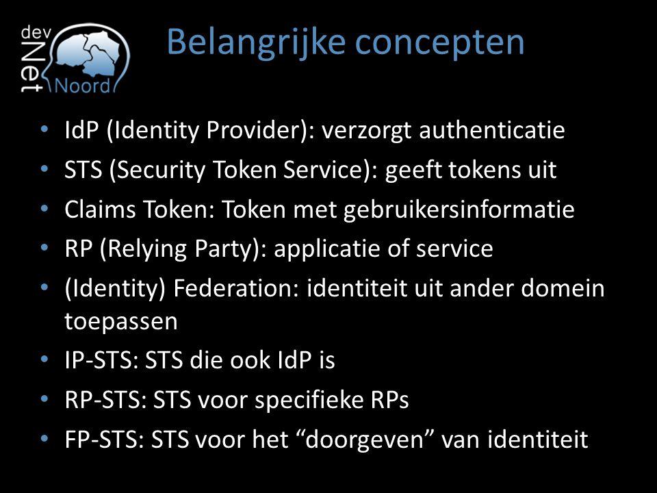 Belangrijke concepten IdP (Identity Provider): verzorgt authenticatie STS (Security Token Service): geeft tokens uit Claims Token: Token met gebruiker