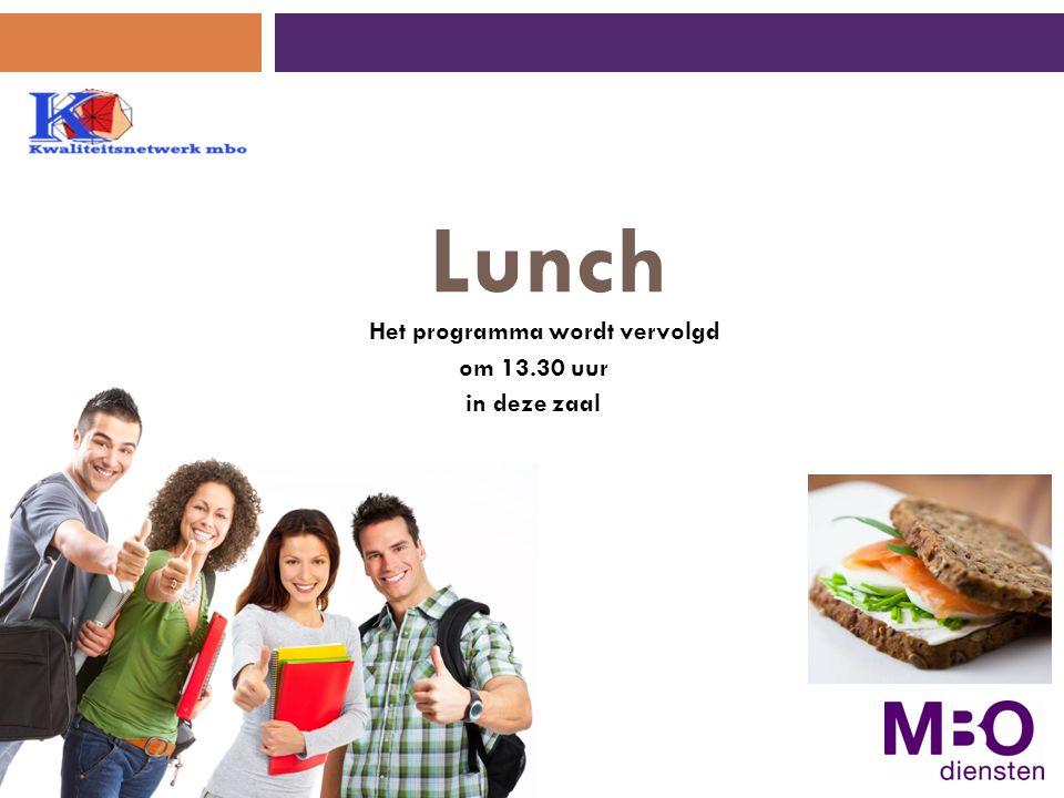 Lunch Het programma wordt vervolgd om 13.30 uur in deze zaal