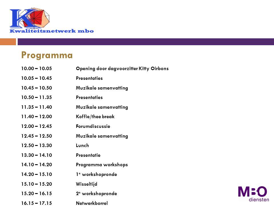 Programma 10.00 – 10.05Opening door dagvoorzitter Kitty Oirbons 10.05 – 10.45 Presentaties 10.45 – 10.50Muzikale samenvatting 10.50 – 11.35Presentaties 11.35 – 11.40Muzikale samenvatting 11.40 – 12.00 Koffie/thee break 12.00 – 12.45Forumdiscussie 12.45 – 12.50Muzikale samenvatting 12.50 – 13.30Lunch 13.30 – 14.10Presentatie 14.10 – 14.20Programma workshops 14.20 – 15.101 e workshopronde 15.10 – 15.20 Wisseltijd 15.20 – 16.152 e workshopronde 16.15 – 17.15Netwerkborrel