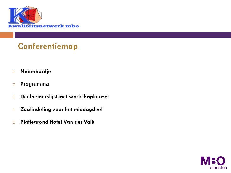  Naambordje  Programma  Deelnemerslijst met workshopkeuzes  Zaalindeling voor het middagdeel  Plattegrond Hotel Van der Valk Conferentiemap