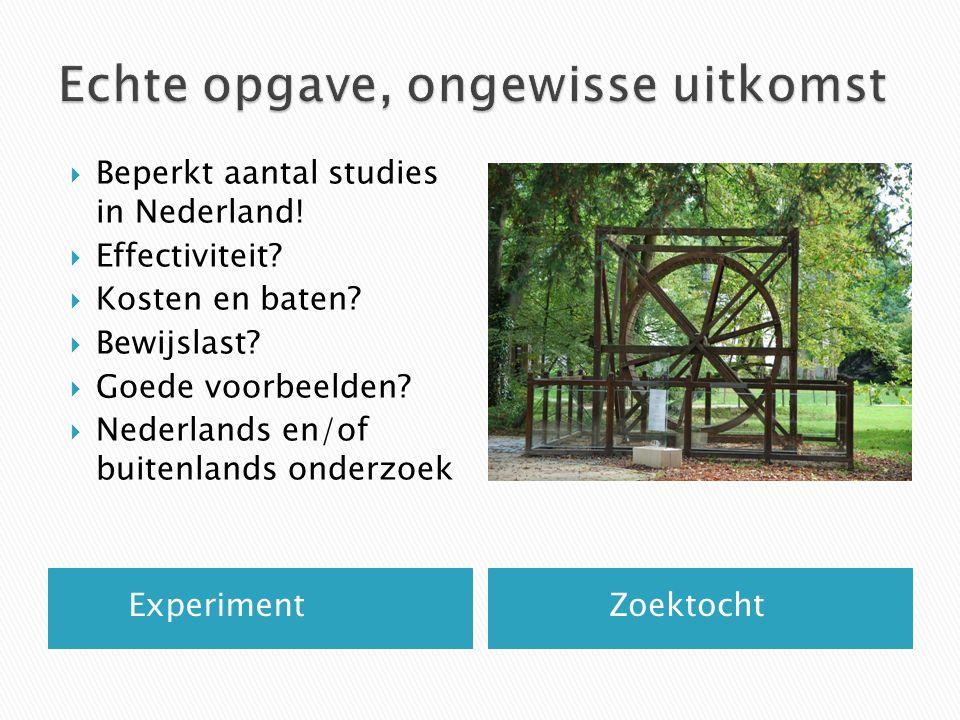  Domein: preventie  Eerste voorkeur: interventies uit de DEI  Alleen in Nederland aangetoonde resultaten, bij voorkeur effecten met RCT gemeten  In verschillende leeftijds- of ontwikkelingsfasen  Voldoende informatie voor economische evaluatie: berekenen van kosten en baten  Invoering in gehele land mogelijk