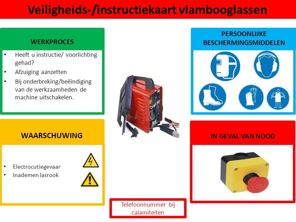 Electrocutiegevaar Inademen lasrook WAARSCHUWING /Veiligheids-/instructiekaart vlambooglassen WERKPROCES PERSOONLIJKE BESCHERMINGSMIDDELEN Heeft u ins