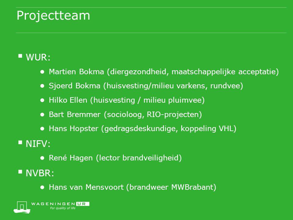 Projectteam  WUR: ● Martien Bokma (diergezondheid, maatschappelijke acceptatie) ● Sjoerd Bokma (huisvesting/milieu varkens, rundvee) ● Hilko Ellen (h