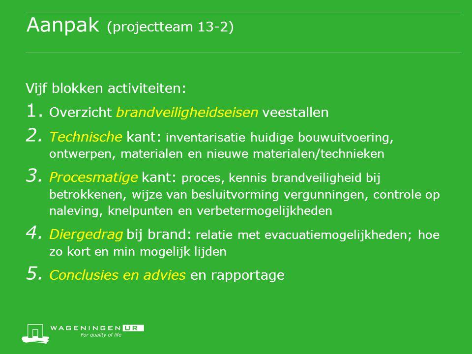 Aanpak (projectteam 13-2) Vijf blokken activiteiten: 1. Overzicht brandveiligheidseisen veestallen 2. Technische kant: inventarisatie huidige bouwuitv