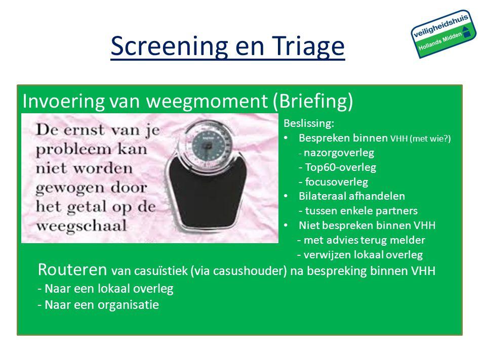Invoering van weegmoment (Briefing) Screening en Triage Beslissing: Bespreken binnen VHH (met wie?) - nazorgoverleg - Top60-overleg - focusoverleg Bil