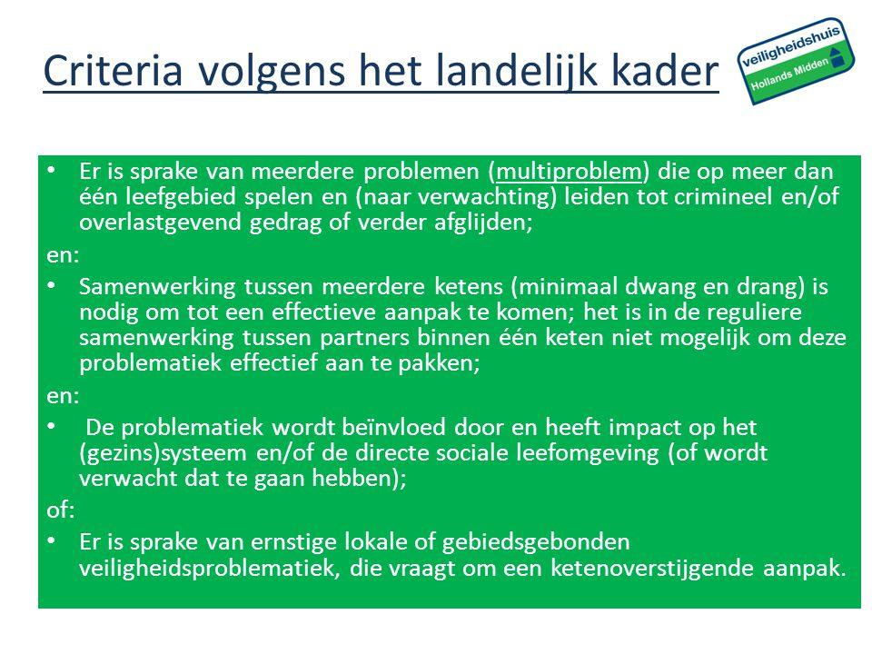 Criteria volgens het landelijk kader Er is sprake van meerdere problemen (multiproblem) die op meer dan één leefgebied spelen en (naar verwachting) le