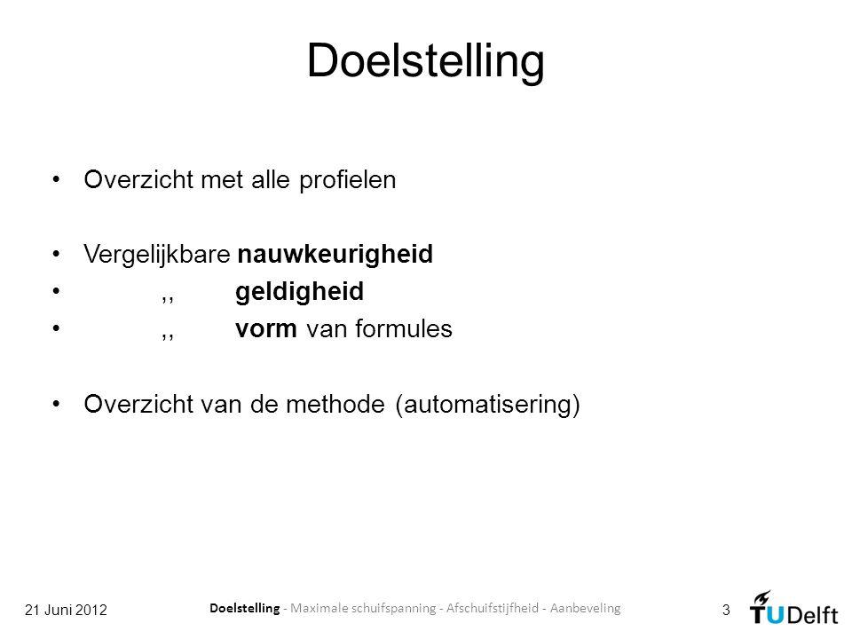 Uit eerdere eindwerken 21 Juni 20124 Doelstelling - Maximale schuifspanning - Afschuifstijfheid - Aanbeveling