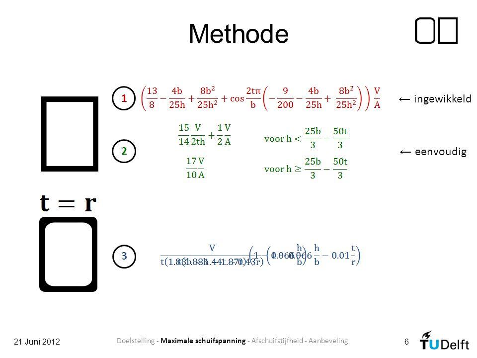 Aanbevelingen 21 Juni 201217 Kleinere afwijkingen in formules Nieuwe formules voor kokers Experiment in lab ANSYS werkelijkheid .