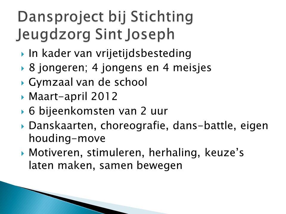  In kader van vrijetijdsbesteding  8 jongeren; 4 jongens en 4 meisjes  Gymzaal van de school  Maart-april 2012  6 bijeenkomsten van 2 uur  Dansk