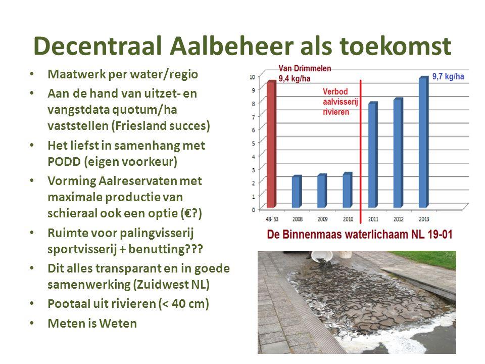 Decentraal Aalbeheer als toekomst Maatwerk per water/regio Aan de hand van uitzet- en vangstdata quotum/ha vaststellen (Friesland succes) Het liefst in samenhang met PODD (eigen voorkeur) Vorming Aalreservaten met maximale productie van schieraal ook een optie (€?) Ruimte voor palingvisserij sportvisserij + benutting??.
