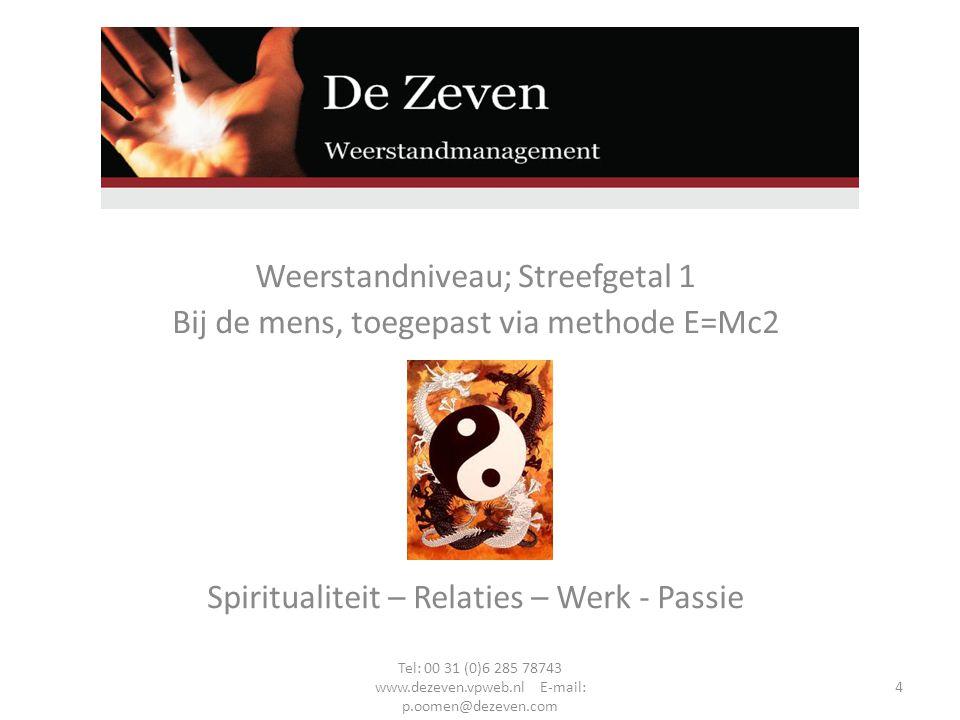 Weerstandniveau; Streefgetal 1 Bij de mens, toegepast via methode E=Mc2 Spiritualiteit – Relaties – Werk - Passie Tel: 00 31 (0)6 285 78743 www.dezeven.vpweb.nl E-mail: p.oomen@dezeven.com 4