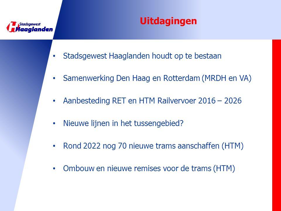 Uitdagingen Stadsgewest Haaglanden houdt op te bestaan Samenwerking Den Haag en Rotterdam (MRDH en VA) Aanbesteding RET en HTM Railvervoer 2016 – 2026