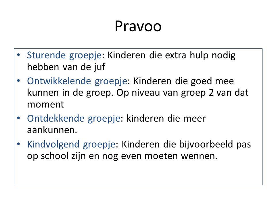 Pravoo Sturende groepje: Kinderen die extra hulp nodig hebben van de juf Ontwikkelende groepje: Kinderen die goed mee kunnen in de groep. Op niveau va