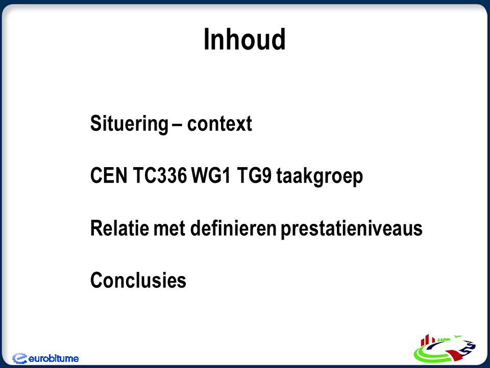 Situering – context CEN TC336 WG1 TG9 taakgroep Relatie met definieren prestatieniveaus Conclusies Inhoud