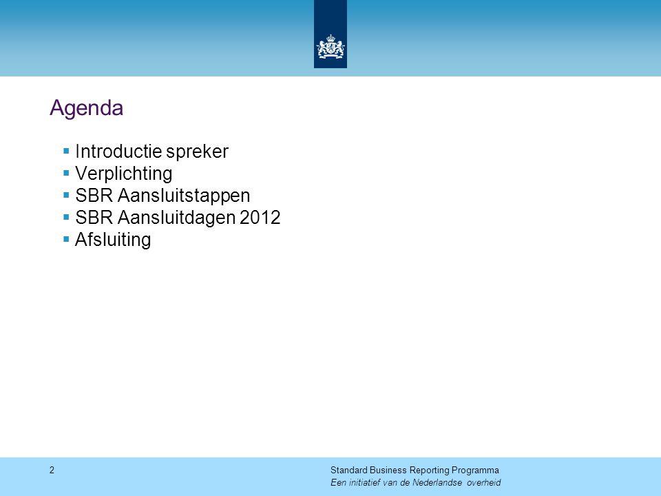 Agenda  Introductie spreker  Verplichting  SBR Aansluitstappen  SBR Aansluitdagen 2012  Afsluiting 2Standard Business Reporting Programma Een initiatief van de Nederlandse overheid