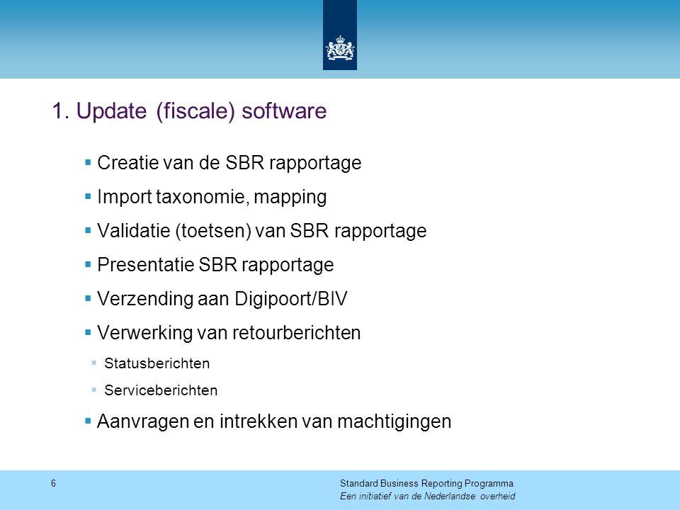 1. Update (fiscale) software  Creatie van de SBR rapportage  Import taxonomie, mapping  Validatie (toetsen) van SBR rapportage  Presentatie SBR ra