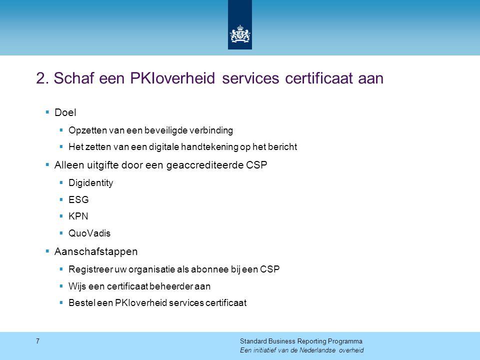 2. Schaf een PKIoverheid services certificaat aan  Doel  Opzetten van een beveiligde verbinding  Het zetten van een digitale handtekening op het be