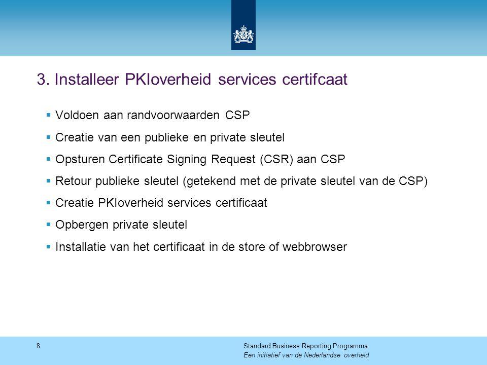 3. Installeer PKIoverheid services certifcaat  Voldoen aan randvoorwaarden CSP  Creatie van een publieke en private sleutel  Opsturen Certificate S