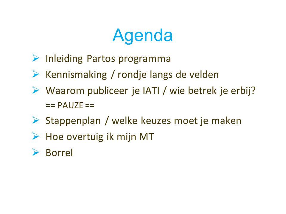 Agenda  Inleiding Partos programma  Kennismaking / rondje langs de velden  Waarom publiceer je IATI / wie betrek je erbij.
