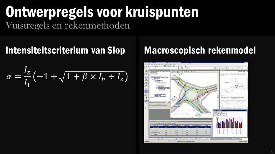 Ontwerpregels voor kruispunten 5 Vuistregels en rekenmethoden Intensiteitscriterium van SlopMacroscopisch rekenmodel