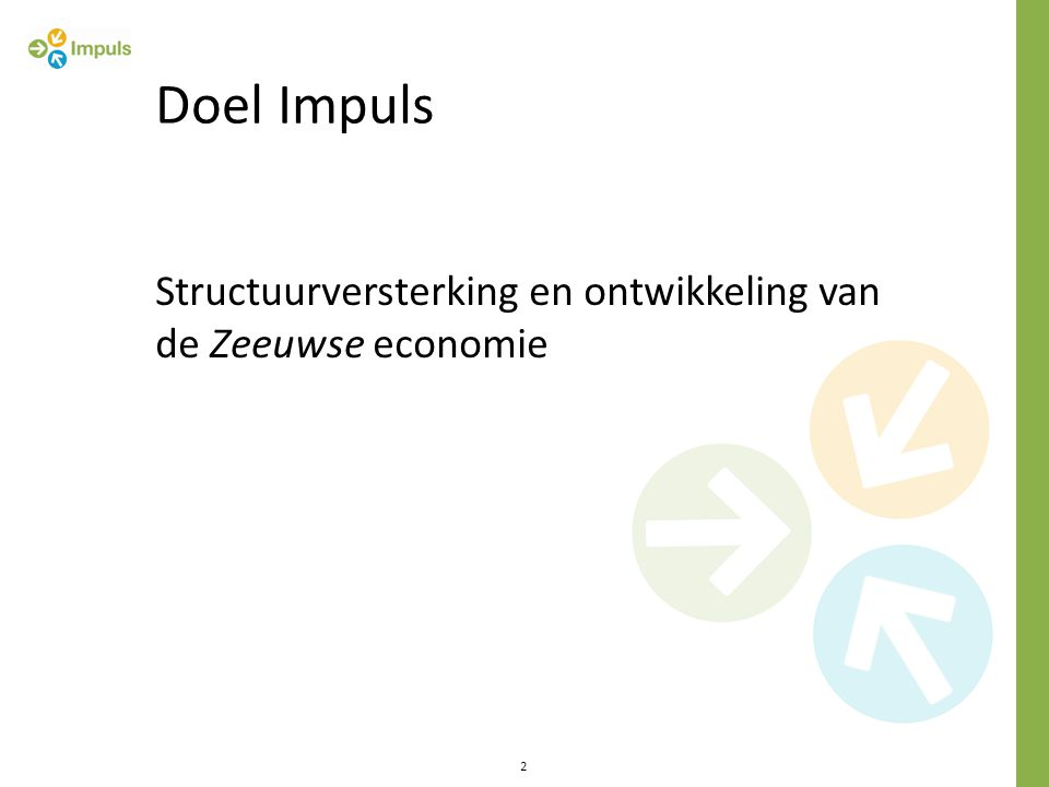 Structuurversterking en ontwikkeling van de Zeeuwse economie 2 Doel Impuls