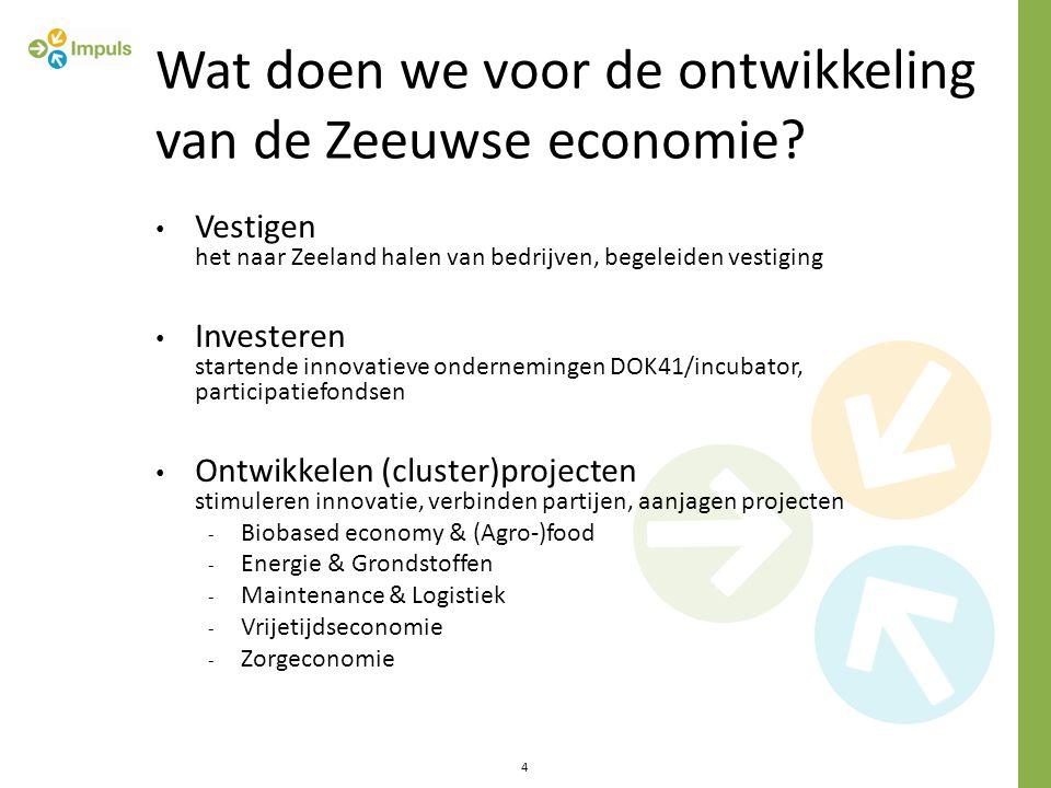Wat doen we voor de ontwikkeling van de Zeeuwse economie? Vestigen het naar Zeeland halen van bedrijven, begeleiden vestiging Investeren startende inn