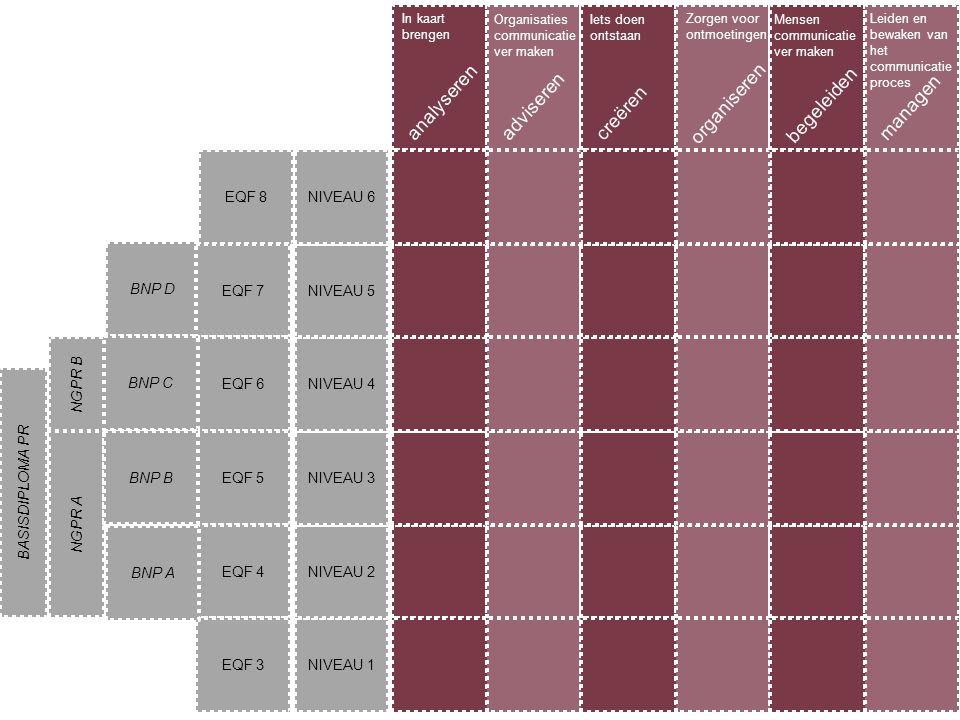 NIVEAU 1 NIVEAU 2 NIVEAU 3 NIVEAU 4 NIVEAU 5 NIVEAU 6 analyserenadviserencreëren begeleiden organiseren managen In kaart brengen Organisaties communic