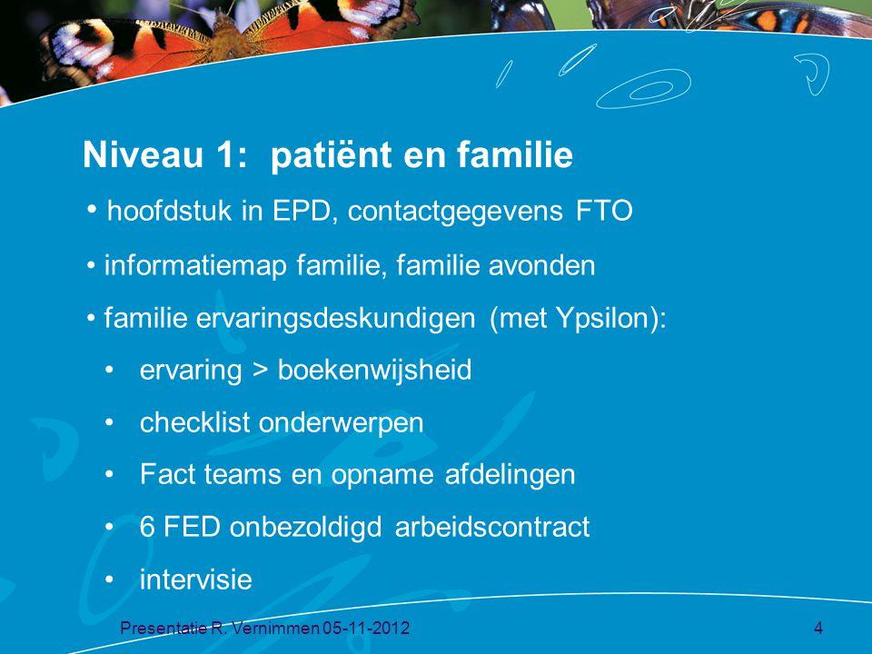 Niveau 1: patiënt en familie hoofdstuk in EPD, contactgegevens FTO informatiemap familie, familie avonden familie ervaringsdeskundigen (met Ypsilon):