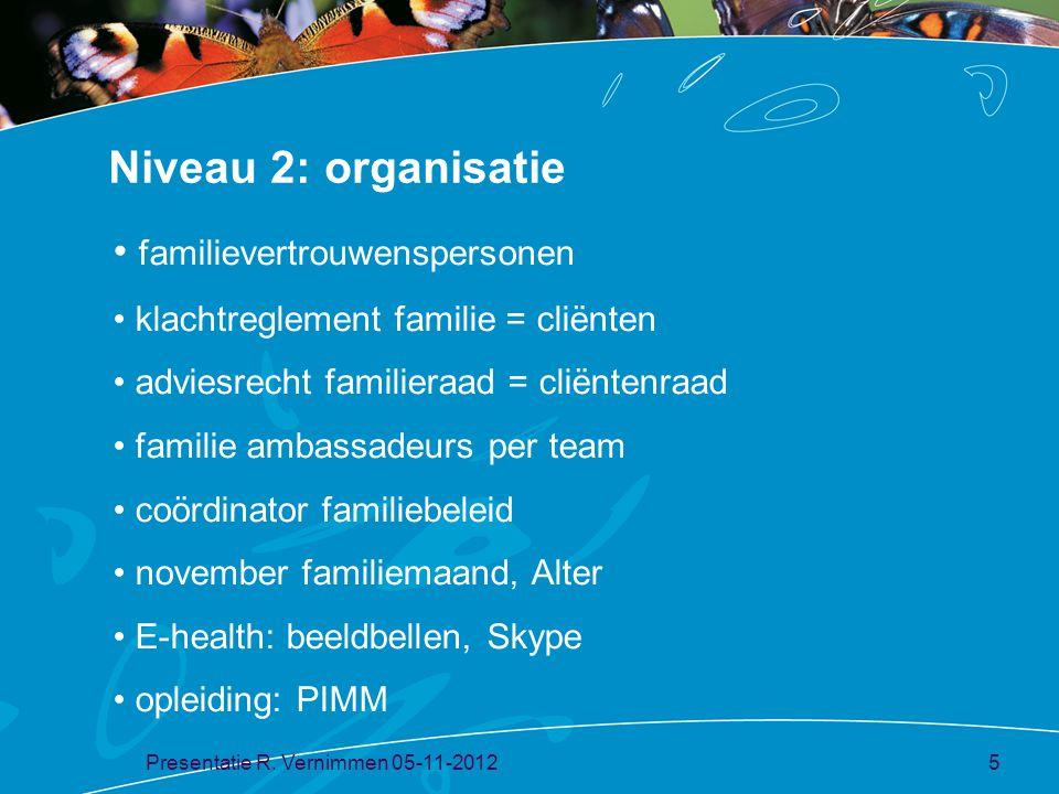 Niveau 2: organisatie familievertrouwenspersonen klachtreglement familie = cliënten adviesrecht familieraad = cliëntenraad familie ambassadeurs per te
