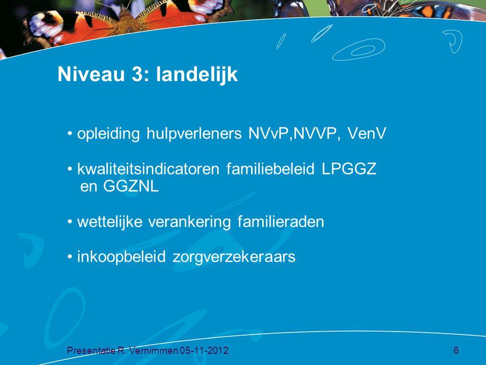 Niveau 3: landelijk opleiding hulpverleners NVvP,NVVP, VenV kwaliteitsindicatoren familiebeleid LPGGZ en GGZNL wettelijke verankering familieraden ink