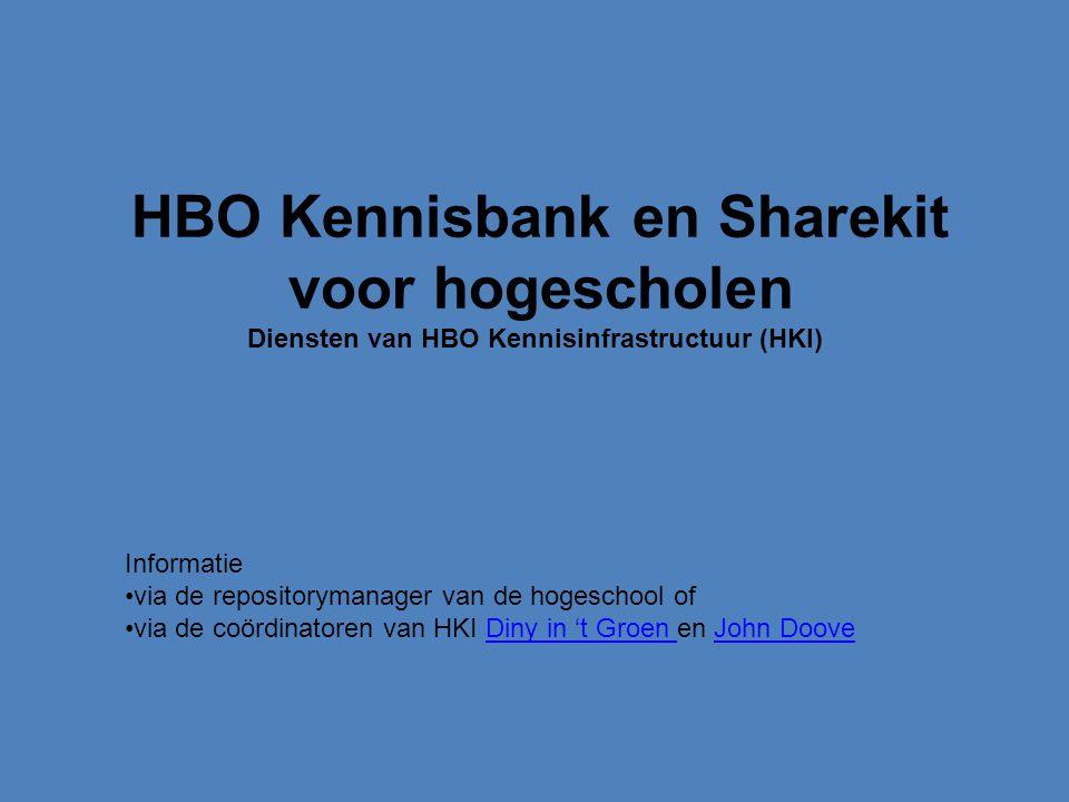 HBO Kennisbank en Sharekit voor hogescholen Diensten van HBO Kennisinfrastructuur (HKI) Informatie via de repositorymanager van de hogeschool of via de coördinatoren van HKI Diny in 't Groen en John DooveDiny in 't Groen John Doove