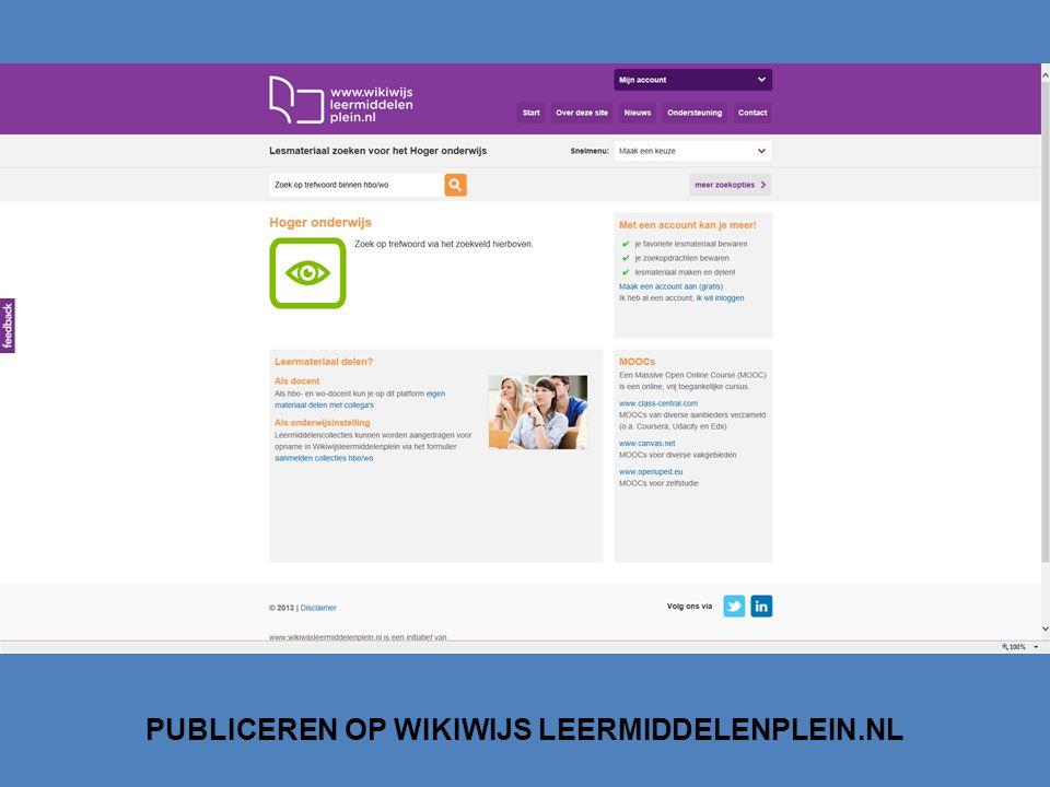 PUBLICEREN OP WIKIWIJS LEERMIDDELENPLEIN.NL