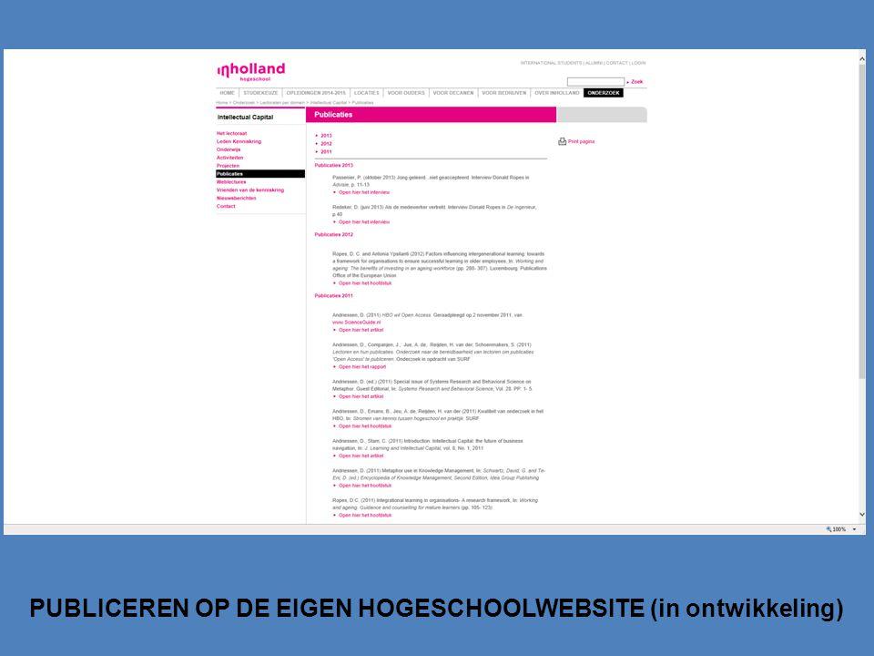 PUBLICEREN OP DE EIGEN HOGESCHOOLWEBSITE (in ontwikkeling)