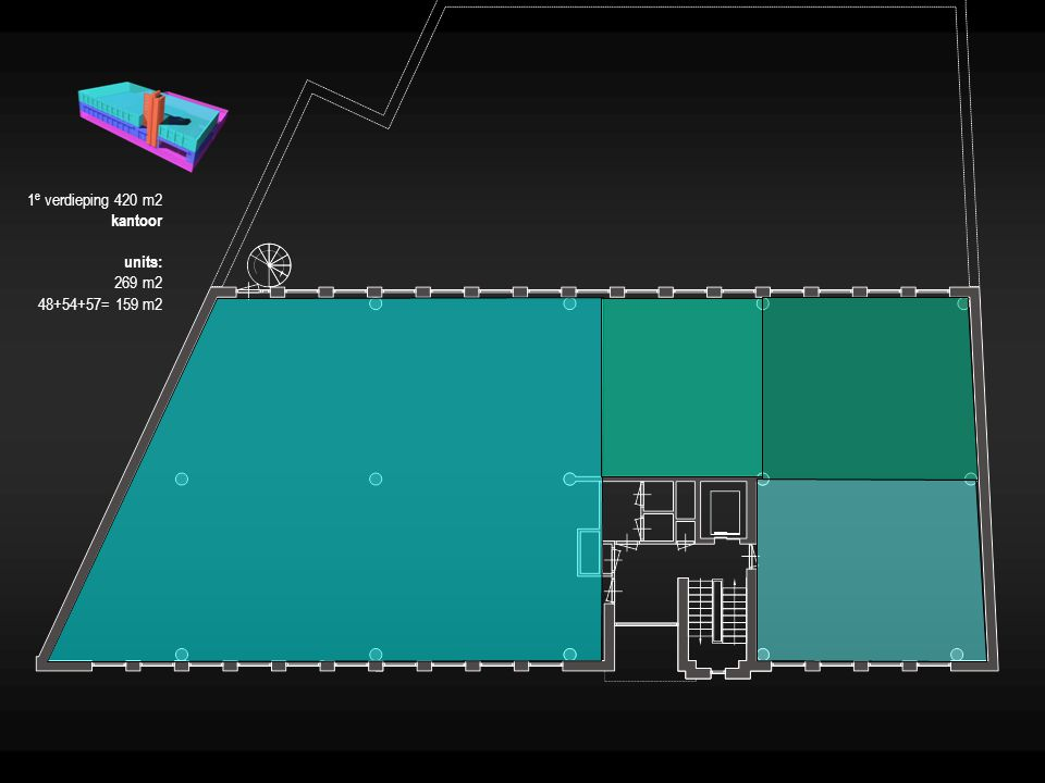 1 e verdieping 420 m2 kantoor units: 269 m2 48+54+57= 159 m2