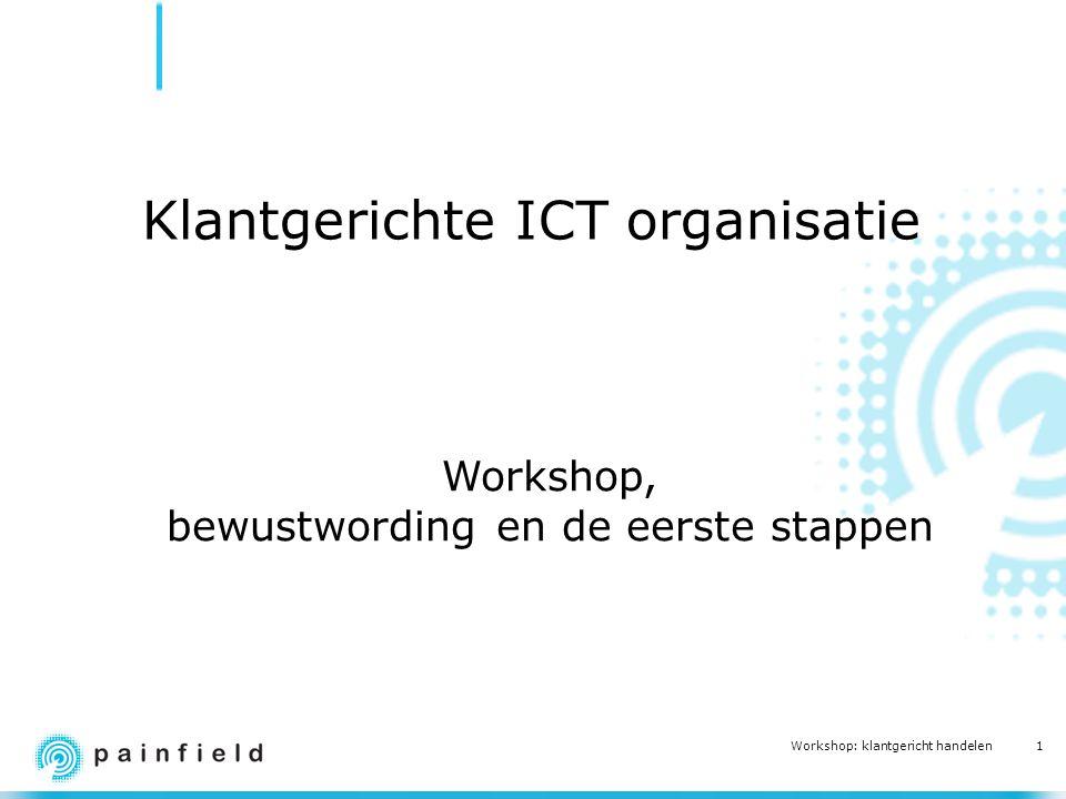 2 Workshop: klantgericht handelen Doelstellingen van de workshop Inzicht in verwachtingen van de klant Inzicht in belanghebbenden en hun belangen Concrete en gedragen plannen voor verdere stappen Persoonlijke commitments
