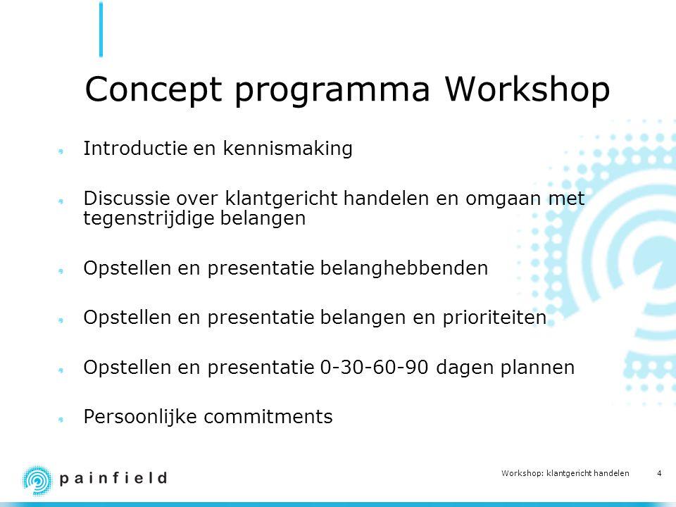 4 Workshop: klantgericht handelen Concept programma Workshop Introductie en kennismaking Discussie over klantgericht handelen en omgaan met tegenstrij