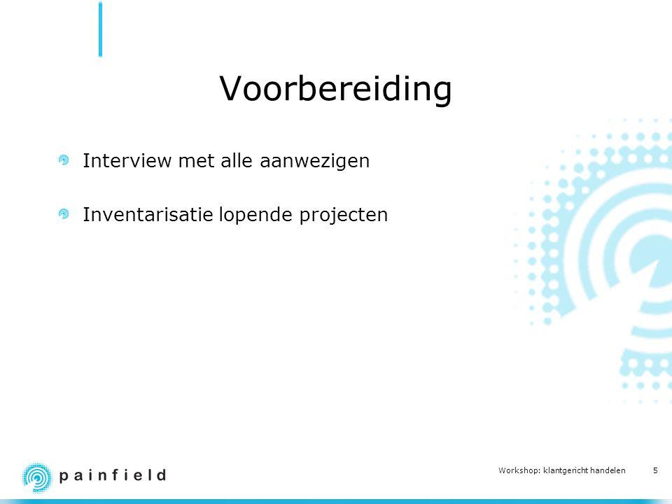 5 Workshop: klantgericht handelen Voorbereiding Interview met alle aanwezigen Inventarisatie lopende projecten